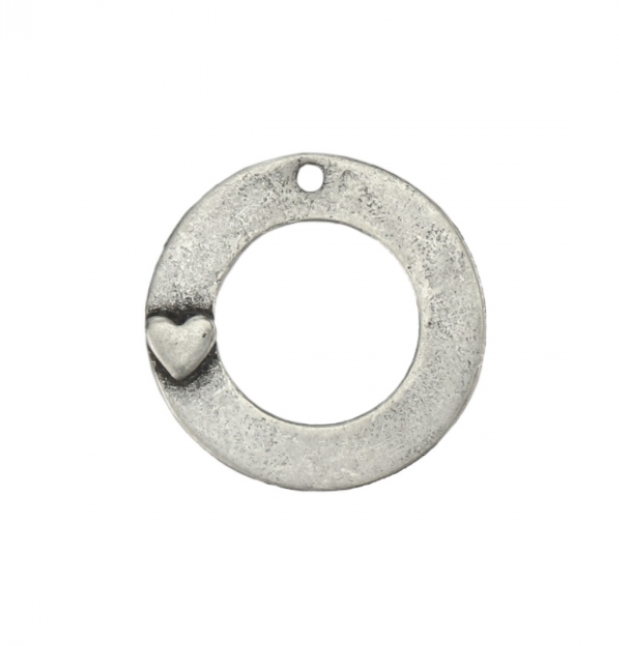 Washer with Heart<br>Pewter Stamping Blank<br>35mm