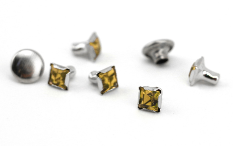 Czech Crystal Snap Rivets<br>Topaz<br>Square Shape, 5 pack