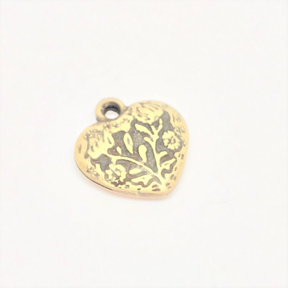 Embossed Heart Charm<br>Antique Bronze Plated<br>13mm x 15mm