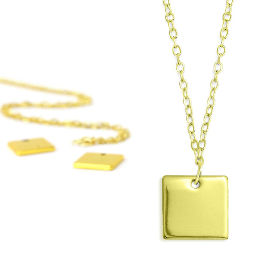 Personal Impressions<br>Square - 1 Piece<br>Gold Plated