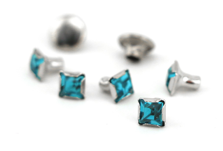 Czech Crystal Snap Rivets<br>Zircon<br>Square Shape, 5 pack