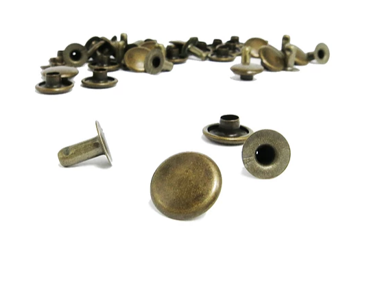 Tubular Rivets - Antique Brass<br>Large 9mm Head / 8mm Stem<br>10 Pack