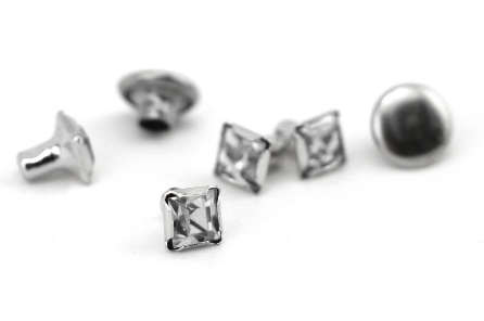 Czech Crystal Snap Rivets<br>Crystal<br>Square Shape, 5 pack