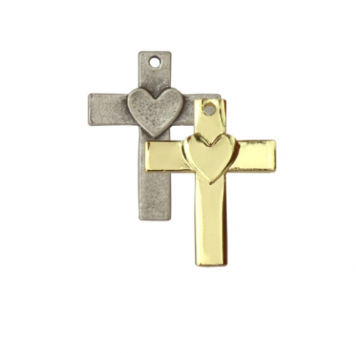 Cross with Heart Charm<br>Artisan Stamping Blank<br>32mm x 25mm