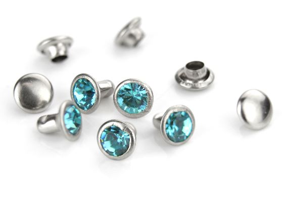 Czech Crystal Snap Rivets<br>Zircon<br>Round Shape, 5 pack