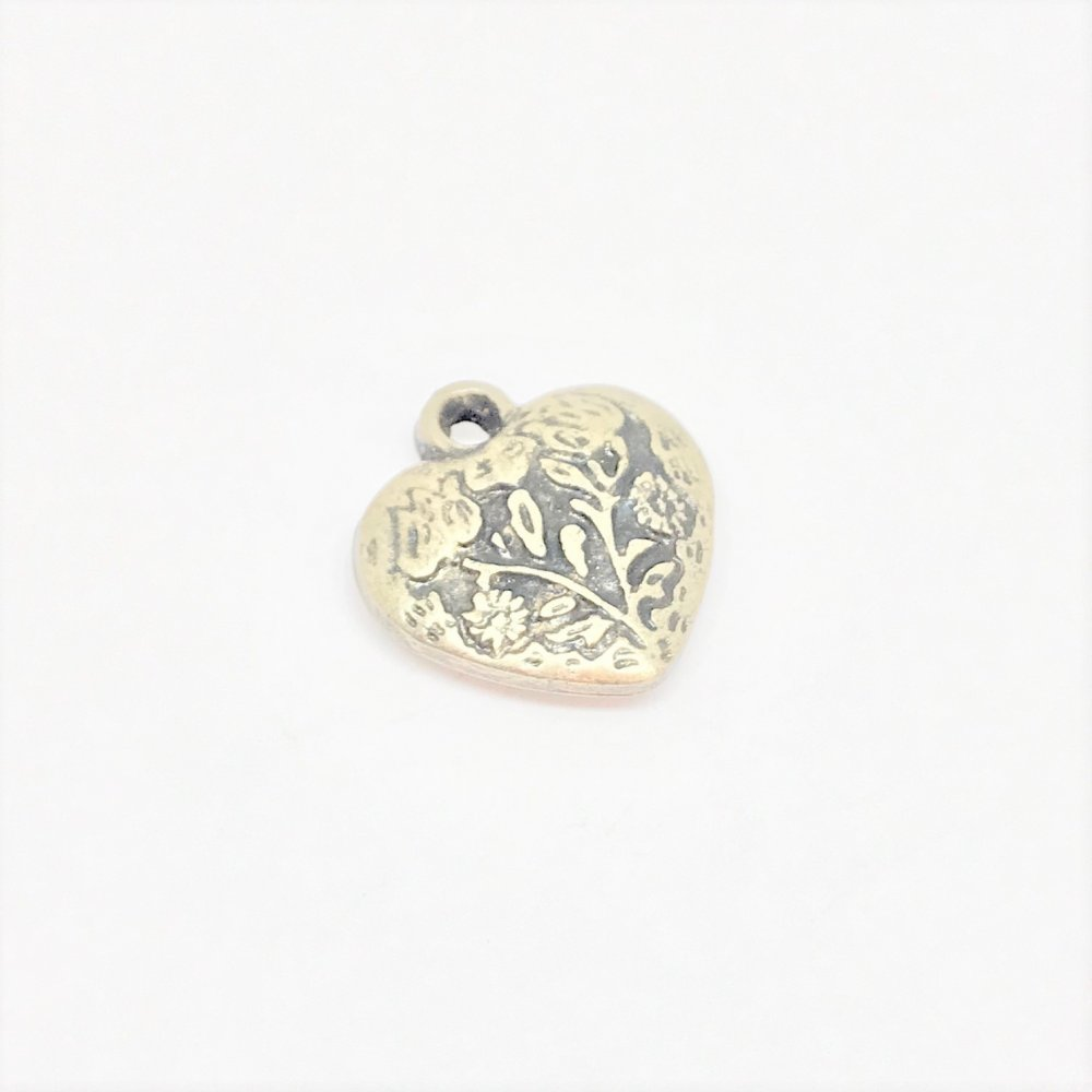 Embossed Heart Charm<br>Antique Brass Plated<br>13mm x 15mm