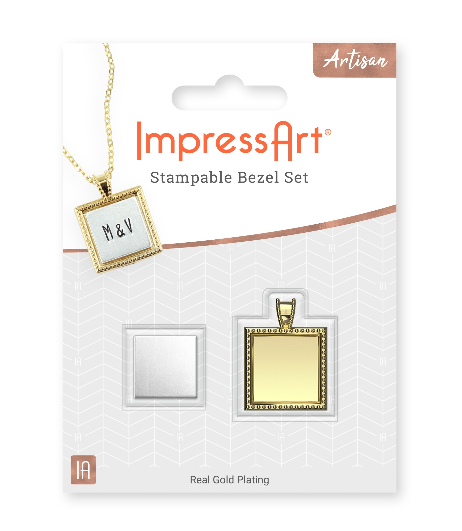 Square Artisan Bezel Kit<br>1 Gold Plated Bezel + 3 Blanks<br>Outer: 17mm / Inner: 12mm
