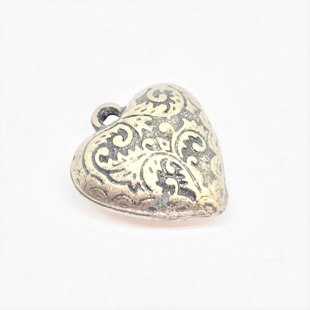 Embossed Heart Charm<br>Antique Nickel Plated<br>20mm x 24mm