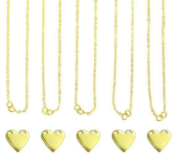 Personal Impressions<br>Heart - 5 Pieces<br>Gold Plated