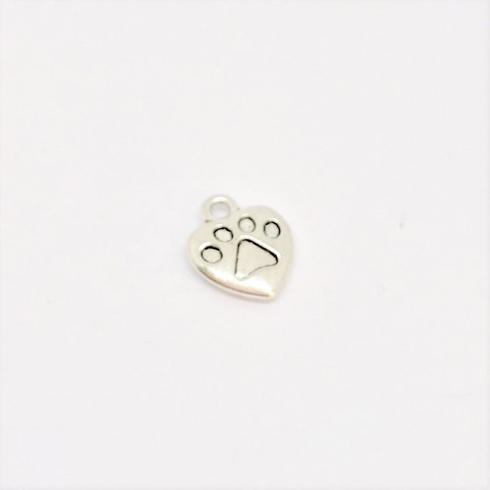Dog Paw Heart Charm<br>Metal<br>12mm