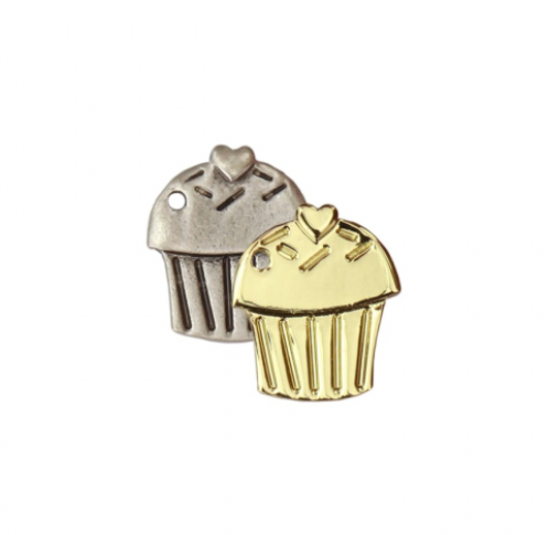 Cupcake Charm<br>Artisan Stamping Blank<br>25mm x 22mm