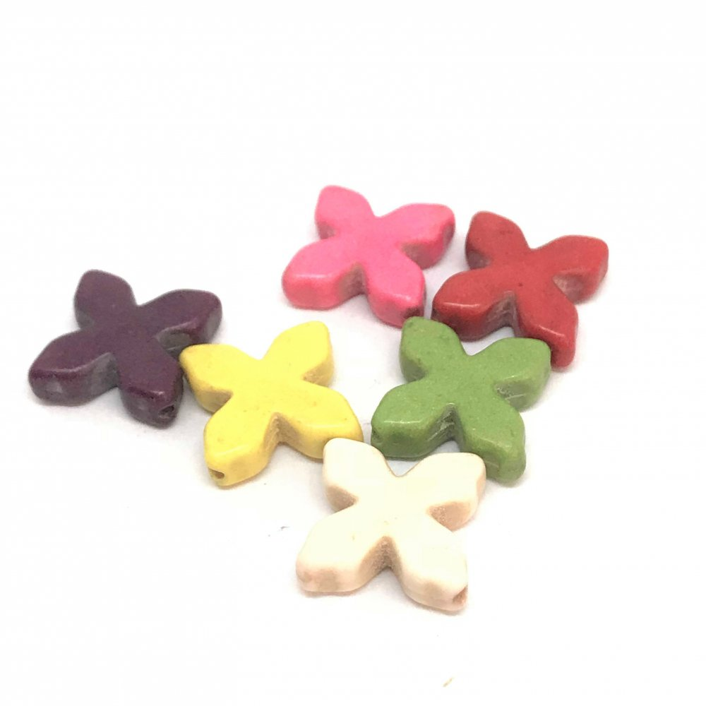 4 Leaf Cross Howlite Bead<br>Assorted Colours<br>18mm